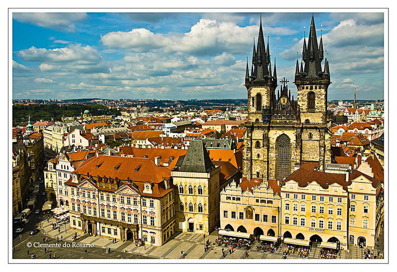 A view from the Astronomical Clock Tower of Tyn Church in the Old Town Square in Prague, Czech Republic.