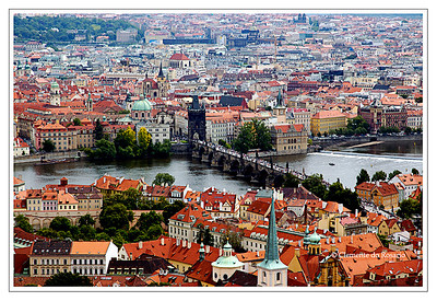 A view of  Charles Bridge photographed from St. Vitus Cathedral Tower in June 2006