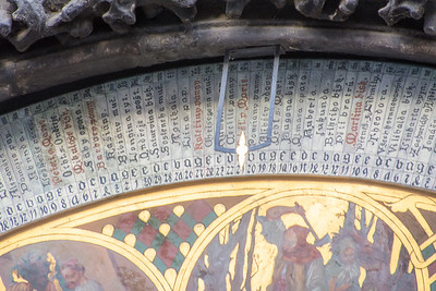 Detail of the Prague Astronomical Clock. The pointer indicates a name associated with this particular day, often used to name newborns.