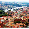 A view of the city of Prague from St. Vitus Cathedral Tower in Prague Castle complex in June 2006
