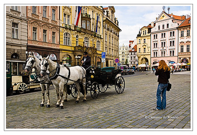 Horse drawn carriage in Old Town Square Prague Czech Republic