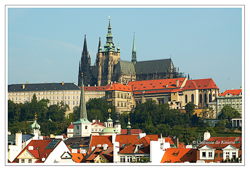 A view of Prague Castle from Charles Bridge in Prague, Czech Republic in June 2006.