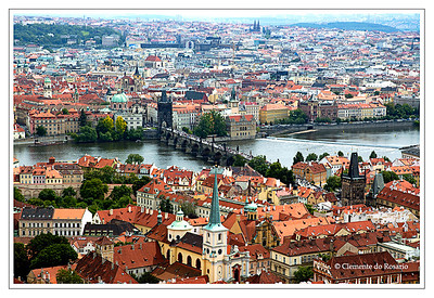 A view of the city of Prague photograhed from St. Vitus Cathedral Tower in June 2006