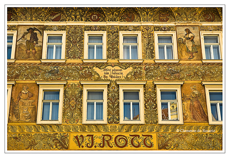 Historic Rott Building with fresco facade by painters Novak Hofbauer in the Old town Square, Prague, Czech Republic