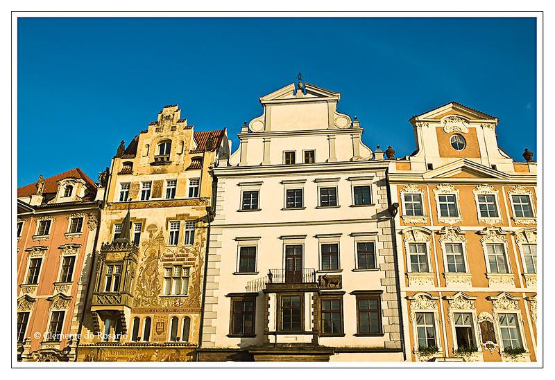 Medieval  buildings in the  historic Old Town Square (Staromestske Namesti) in Prague, Czech Republic.