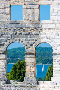 Looking out at Pulska Luka Bay from Pula Arena.