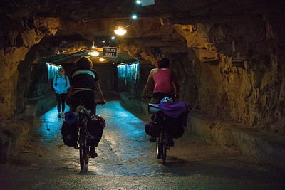 Even cyclists go through the tunnels.
