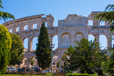 Pula Arena is only remaining Roman arena with all four side towers and all three architectural orders (arched levels) preserved.