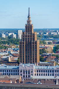 Latvian Academy of Sciences looks similar to the Palace of Culture and Science in Warsaw