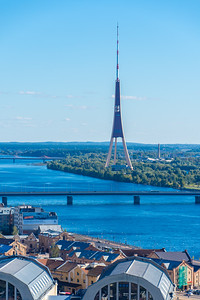 TV Tornis (Television Tower) along the Daugava River