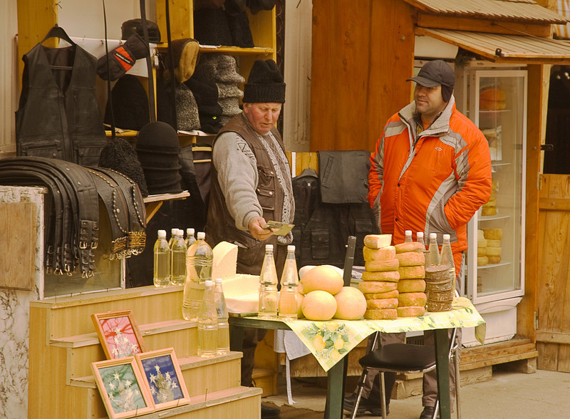 Also available are leather and woolen goods, bread, cheese and an unlabeled pale-yellow-colored fluid that is almost certainly the local firewater called Ţuică made from plums.