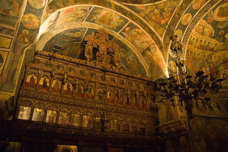 Inside a Romanian Orthodox church in Bucharest.