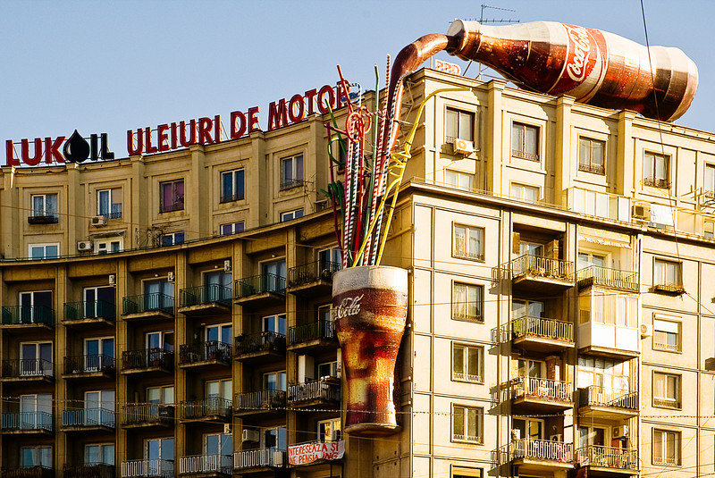 Three-dimensional advertising on Lukoil (Russian) building for Coca-Cola.