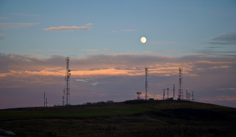 Moonrise over transmission towers somewhere in Transylvania