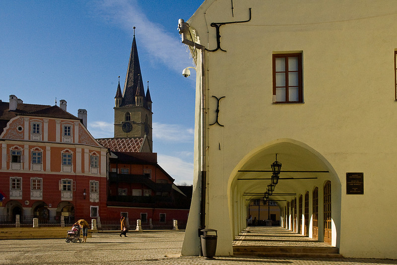The Large Square (Romanian: Piaţa Mare, German: Großer Ring) has been the center of the city since the 16th century.