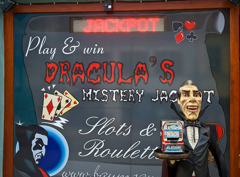 Dracula's ubiquity in Sibiu, as well as many other spots in Romania, included this gambling den and a Dracula-themed pizza parlor. After his defeat by the Turks in 1462, Vlad Tepes found a refuge in Sibiu where he had probably built a home some years previous.
