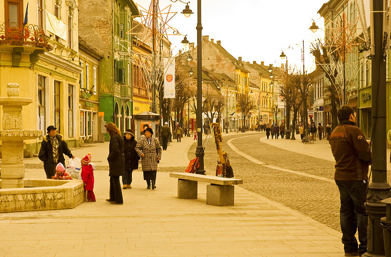 The old town is the commercial and social center of Sibiu.