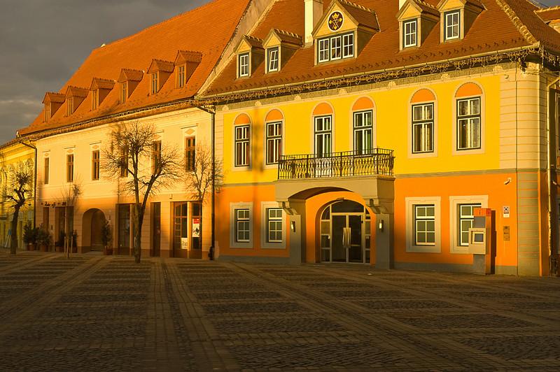 Sundown light Sibiu city center square