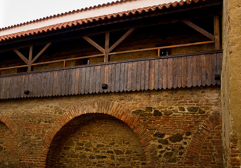 In the 14th century there were sixteen guilds in Sibiu each of which was responsible with maintaining a section of the wall, the adjacent watch towers and manning the firing galleries (above) in case of attack.