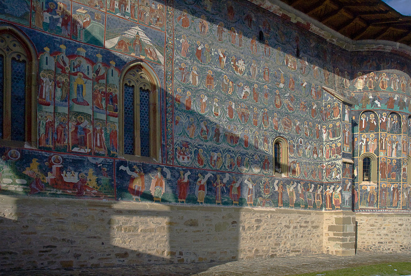 South wall Sucevita; the blue is called Bukovina Blue and recognized by artists as a distinctive shade like Titian Red. It was made by grinding lapis lazuli.