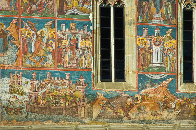 Not all the frescoes were entirely spiritual. The lower panel here at Moldovita depicts the attack from the right on a fortified citadel on the left.