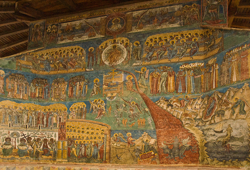 This wall at Voronet is a depiction of the Last Judgment, the temptations of life and the torments of hell, among other topics.