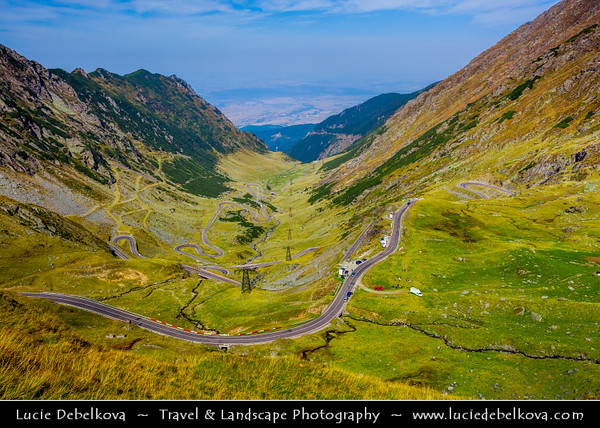 Europe - Romania - Transfagarasan Highway - Transfăgărășan - DN7C - Second-highest paved road ( 2,034 meters) in Romania crossing the southern part of Carpathian Mountains connecting historic regions of Transylvania and Wallachia - Romania's most spectacular and best known mountain road dotted with steep hairpin turns long S-curves and sharp descents