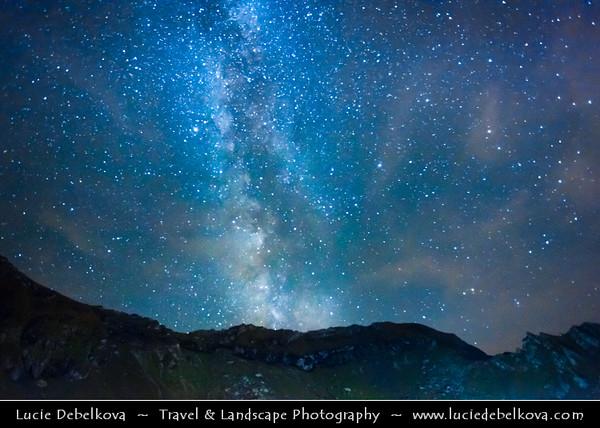 Europe - Romania - Transfagarasan Highway - Transfăgărășan - DN7C - Balea Lake - Lacul Bâlea - Bâlea Lac - Beautiful glacier lake situated at 2,034 m in Fagaras Mountains - Night sky with stars & Milky Way