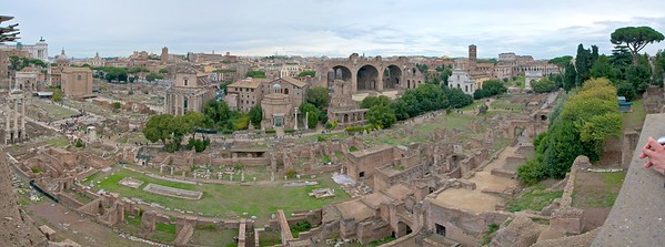 175° panorama of Old Rome from Palatine Hill, UNESCO #91, Historic Center of Rome, Italy