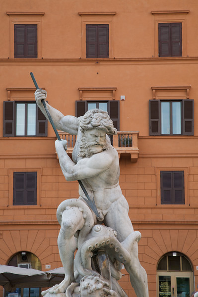 "King Neptune, forming part of ""The fountain of the Neptune"", found in Piazza Navona."