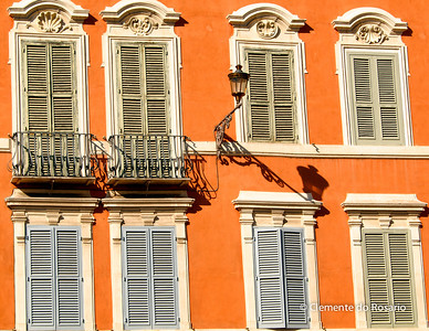Windows with wooden shutters, Piazza di Spagna, Rome, Italy