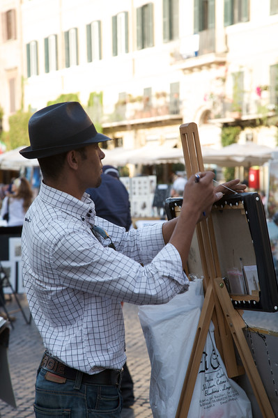 Artist setting up in Piazza Navona, Rome