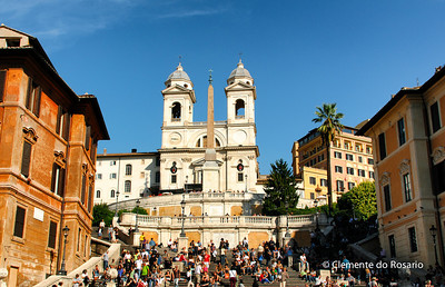 Spanish Steps leading to Trinita dei Monti Church at the top. Rome, Italy