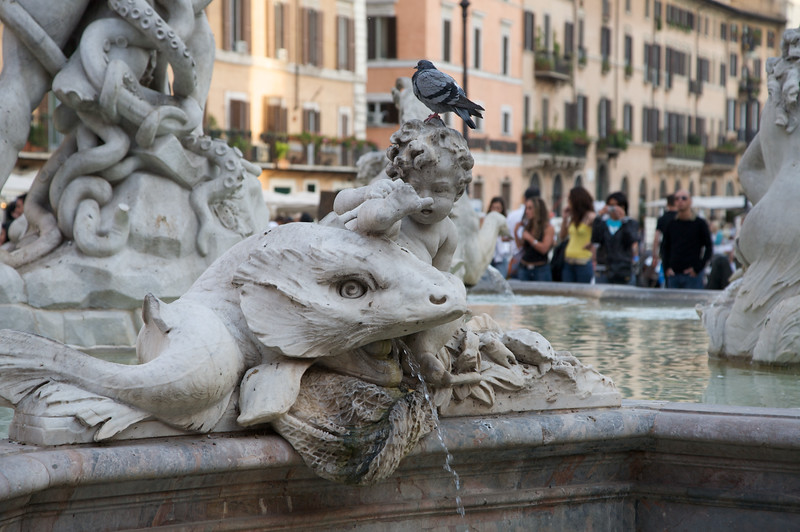 "Close up of the sculptures, forming part of ""The Fountain of the Neptune"", found in Piazza Navona."