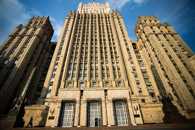 Main building of the Ministry of Foreign Affairs of Russia, one of seven Stalinist skyscrapers in Moscow designed and overseen by Vladimir Gelfreykh and Adolf Minkus.