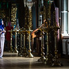 A worshipper pauses inside the chapel of Novodevichy Monastery in Moscow, Russia.