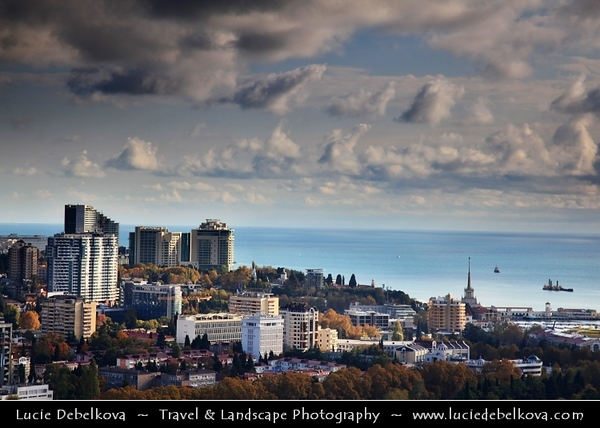 Europe - Russia - Россия - Rossiya - Krasnodar Krai - Sochi - Со́чи - Seaside resort town on the Black Sea coast near the border between Georgia and Russia - Location of 2014 Winter Olympics - City view from above