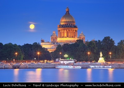 Europe - Russia - Россия - Rossiya - Saint Petersburg - Санкт-Петербург - Sankt-Peterburg - Petrograd - Петроград - Leningrad - Ленинград - Historical city on the Neva River at the head of the Gulf of Finland on the Baltic Sea - Venice of the North - UNESCO World Heritage Site - Saint Isaac's Cathedral - Isaakievskiy Sobor - Исаа́киевский Собо́р - the largest Russian Orthodox cathedral - Late Neoclassical rendering of a Byzantine Greek-cross church & Rising Super Moon