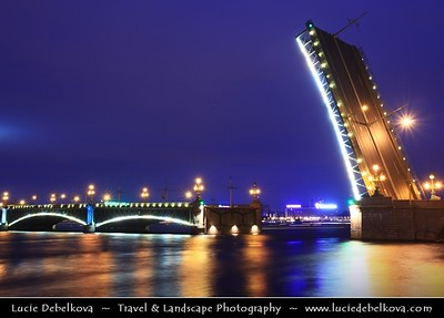 Europe - Russia - Россия - Rossiya - Saint Petersburg - Санкт-Петербург - Sankt-Peterburg - Petrograd - Петроград - Leningrad - Ленинград - Historical city on the Neva River at the head of the Gulf of Finland on the Baltic Sea - Venice of the North - UNESCO World Heritage Site - White Night - Light Nights - Nuit Blanche - Weeks around the summer solstice in June during which sunsets are late, sunrises are early and darkness is never complete - Trinity Bridge - Тро́ицкий мост - Troitskiy Most - Bascule bridge across the Neva which connects Kamennoostrovsky Prospect with Suvorovskaya Square