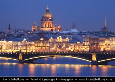 Europe - Russia - Россия - Rossiya - Saint Petersburg - Санкт-Петербург - Sankt-Peterburg - Petrograd - Петроград - Leningrad - Ленинград - Historical city on the Neva River at the head of the Gulf of Finland on the Baltic Sea - Venice of the North - UNESCO World Heritage Site - Saint Isaac's Cathedral - Isaakievskiy Sobor - Исаа́киевский Собо́р - the largest Russian Orthodox cathedral - Late Neoclassical rendering of a Byzantine Greek-cross church