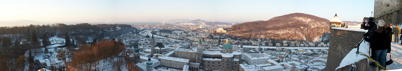 Panoramic of Salzburg from the castle itself.