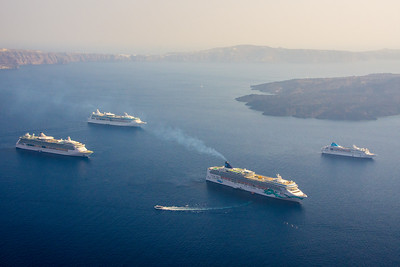 Big cruise ships. Luckily, they usually don't invade Oia.