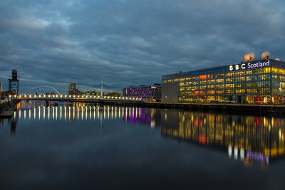 The River Clyde, Bell's Bridge and BBC Scotland.