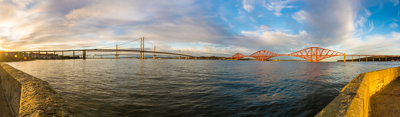 Panorama of the the Firth of Forth and the Forth Railway Bridge