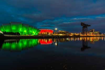 Clyde Auditorium (aka the Armadillo), SSE Hyrdo, and the Finnieston Crane