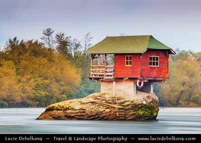 Europe - Serbia - Republika Srbija - Tara National Park - Bajina Basta - Lonely house perched on a rock in the middle of the Drina River