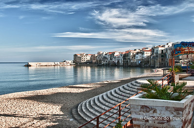 File Ref: 2012-10-25 Cefalu 614 Beach at the core of Cefalu, a popular resort town, Sicily, Italy