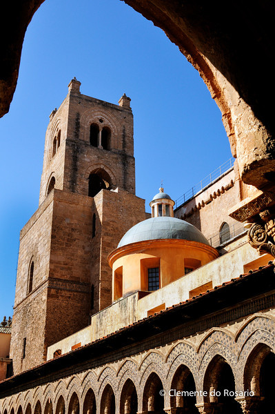File Ref: 2012-10-19 Palermo 358<br /> A view of Monreale Cathedral from the Cloisters, Palermo, Sicily, Italy