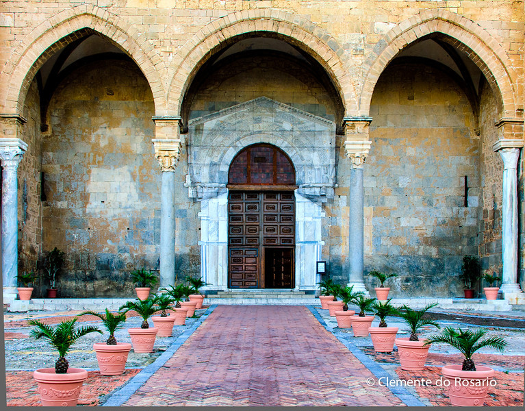 File Ref: 2012-10-25 Cefalu 530 1885<br /> Entrance of the Cathedral in Piazza del Duomo in Cefalu, Sicily