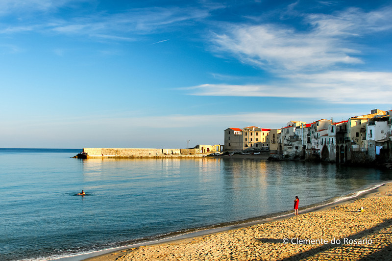 File Ref: 2012-10-25 Cefalu 579 1890 1891<br /> Beach at the core of Cefalu, a popular resort town, Sicily, Italy